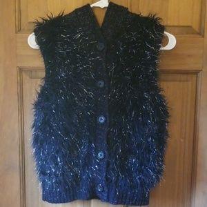 Piper girl's black fur/silver tinsel hooded vest